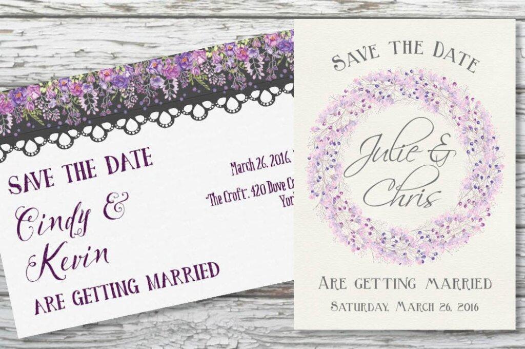 淡紫色和紫罗兰花手绘水彩画花卉装饰图案纹理素材Watercolor Border in Mixed Purple Blooms插图(4)