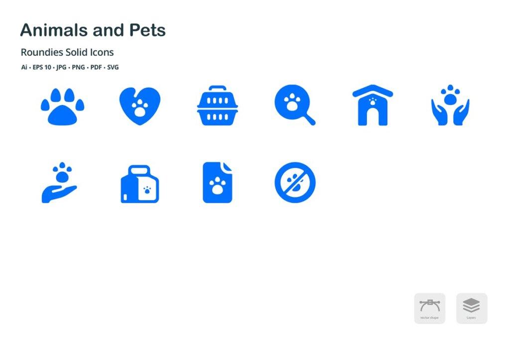 动物和宠物圆形图标矢量文件下载 and Pets Roundies Solid Glyph Icons插图(3)