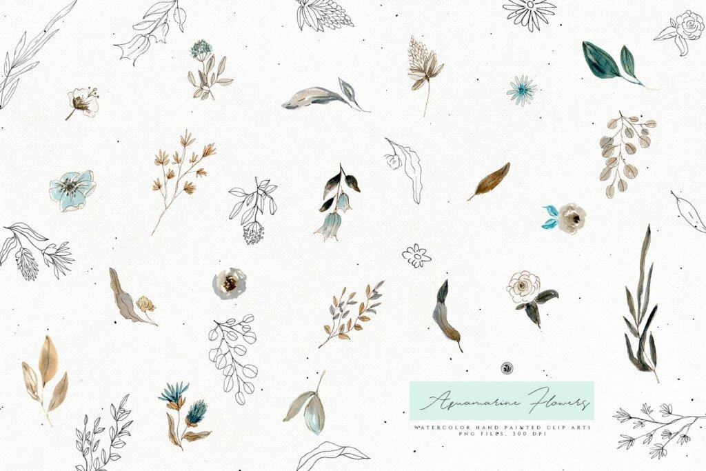手绘海蓝宝石水彩画花卉水彩素材下载Aquamarine Watercolor Flowers插图(5)