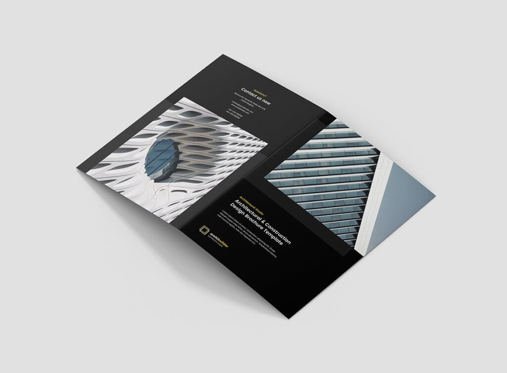建筑工作室投资组合三折页模板素材下载Brochure Architect Bi Fold插图(5)