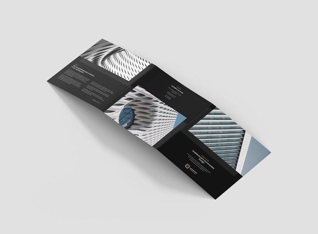 工业建筑设计工作室产品宣传折页模版素材下载Brochure Architect Tri Fold Square插图(5)