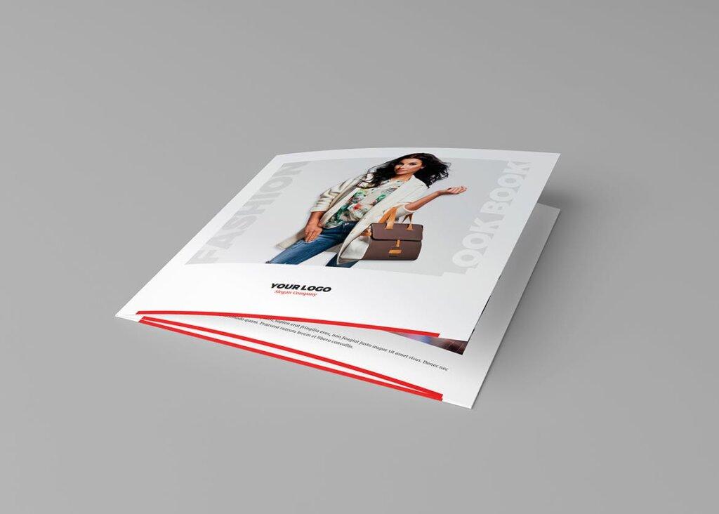 服装大促销宣传折页模版素材下载Brochure Fashion Look Book Tri Fold Square插图(5)