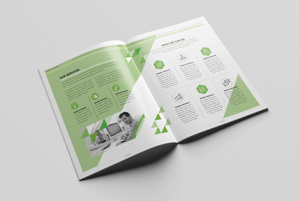 绿色环保简约杂志手册模板素材下载UXZT87插图(5)