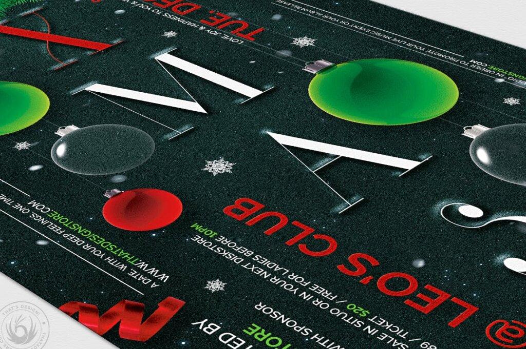 精致文艺平安夜/圣诞节传单海报模板Christmas Eve Flyer Template V13插图(5)