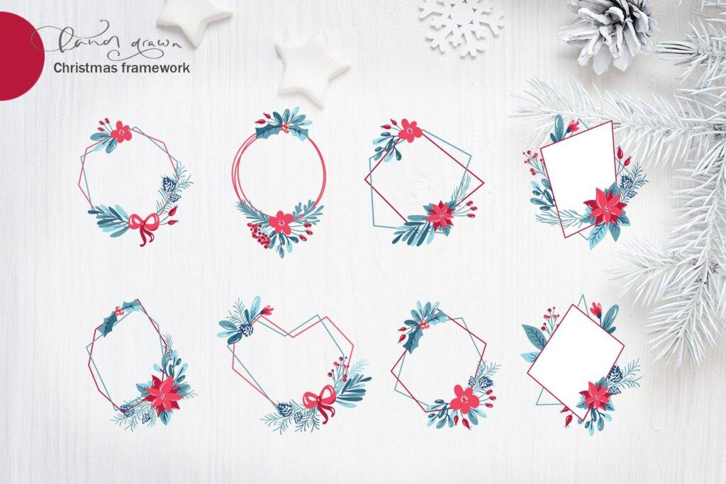 圣诞节花环装饰元素纹理素材/品牌装饰图案素材纹理Christmas floral holiday elements插图(4)
