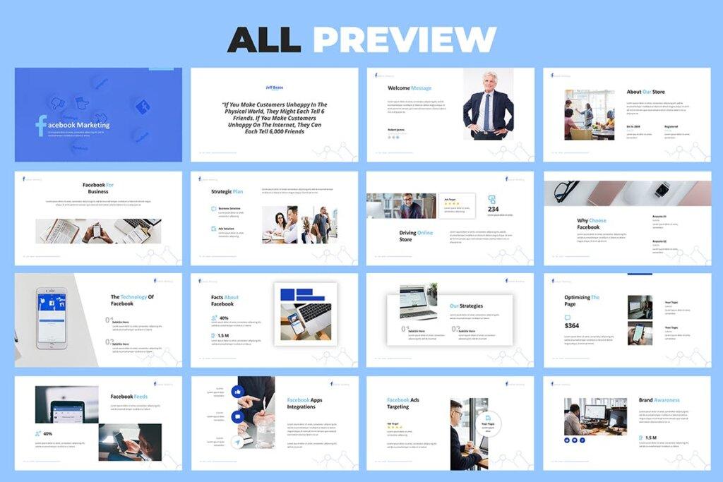 营销演示文稿提案创意演示PPT模版Facebook Marketing Powerpoint Presentation插图(5)