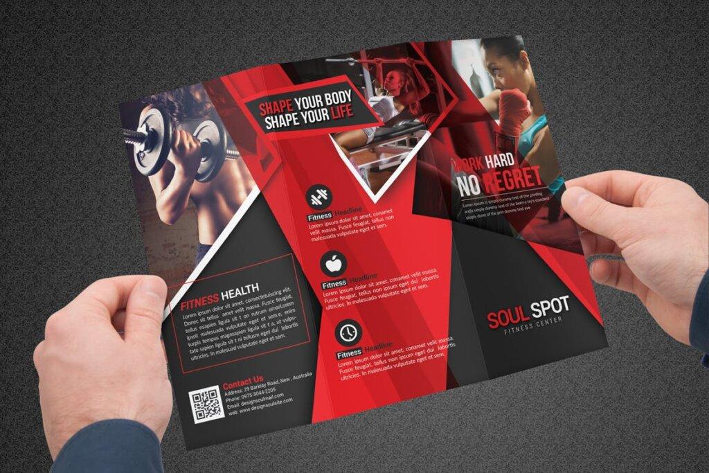 健康与健身手册折页模版素材下载Fitness Tri Fold Brochure插图(5)