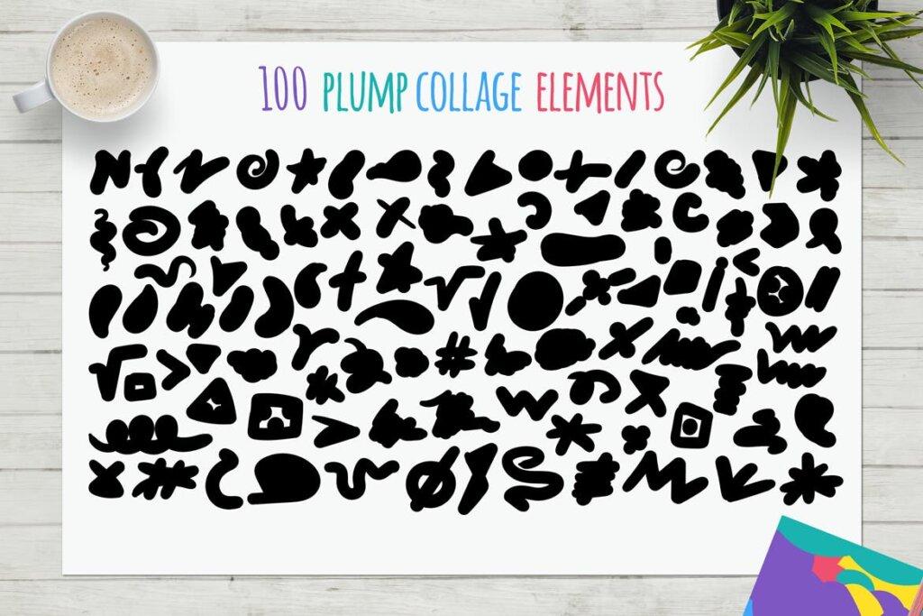 马卡龙剪贴画/渐变图案纹理素材下载Funny Collage Kit插图(5)