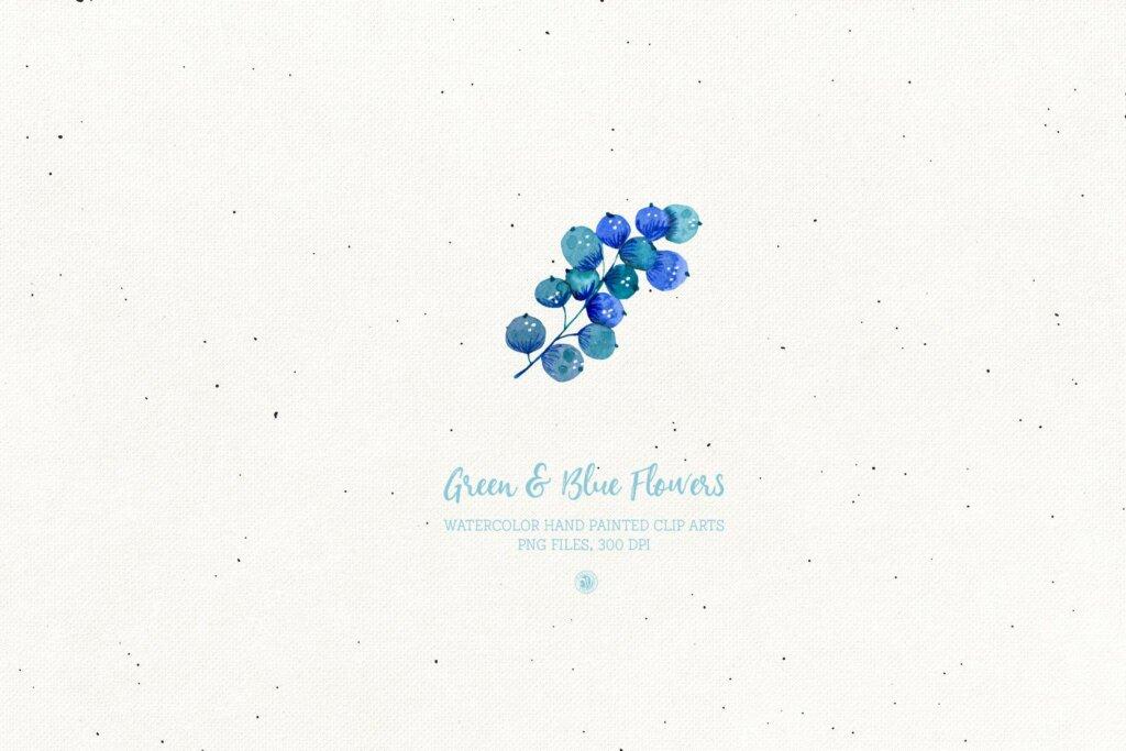 绿色和蓝色的花手绘水彩花/邀请函贺卡装饰图案素材模板下载Green and Blue Flowers插图(5)