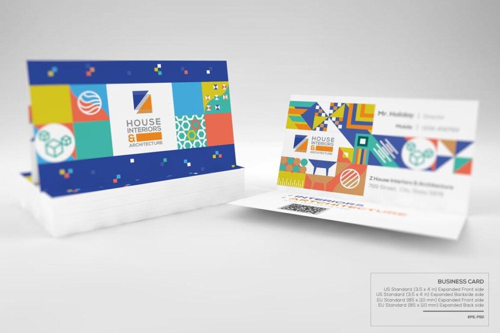 几何纹理图案装饰品牌宣传海报传单模板素材下载Interiors & Architecture – Print Pack Template插图(5)
