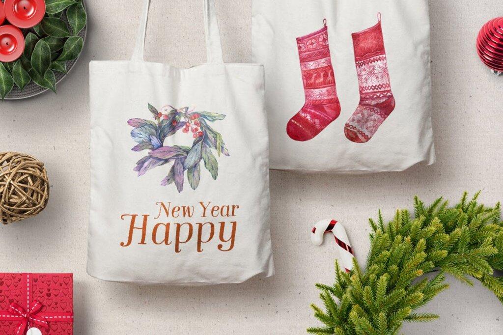 甘草圣诞水彩画装饰图案纹理/圣诞节周边产品素材Licorice Christmas Watercolor Kit插图(5)