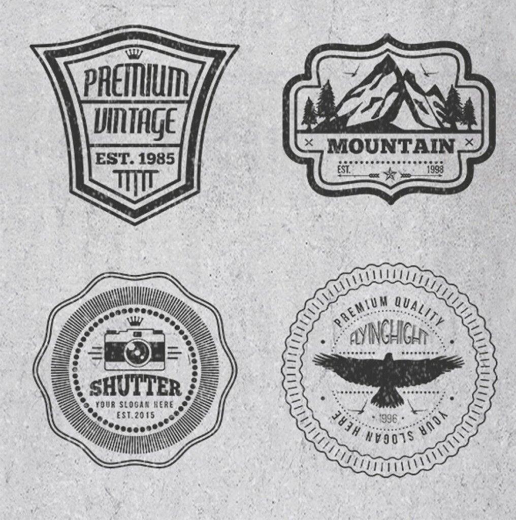 精致复古风格的徽章标识图案纹理素材Logos and Badges Vintage Style插图(5)