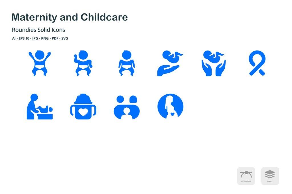 孕妇和儿童保育圆形剪影矢量图标素材下载Maternity and Childcare Roundies Solid Glyph Icons插图(3)