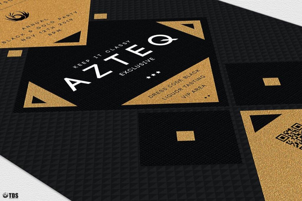创意几何拼图企业发布会传单海报模板素材下载Minimal Black and Gold Flyer Template V3插图(5)