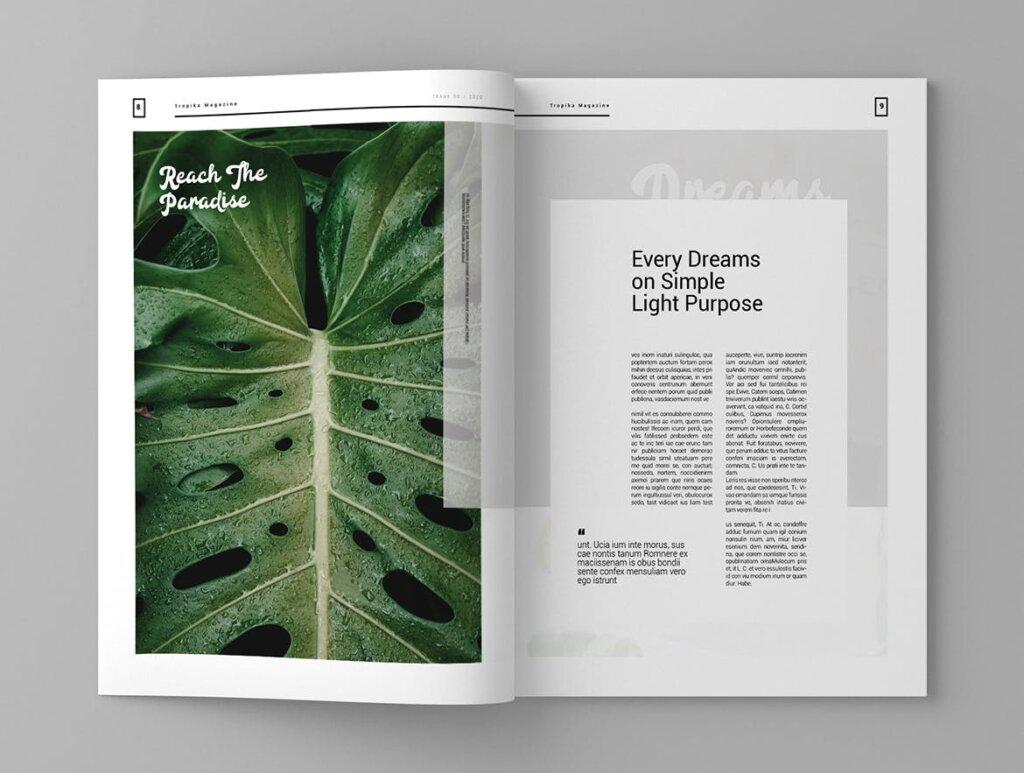 简约大气旅游杂志传单海报模板素材下载Tropika Magazine Template插图(5)