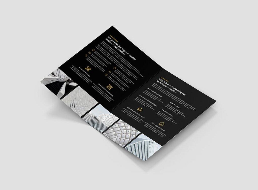 建筑工作室投资组合三折页模板素材下载Brochure Architect Bi Fold插图(6)