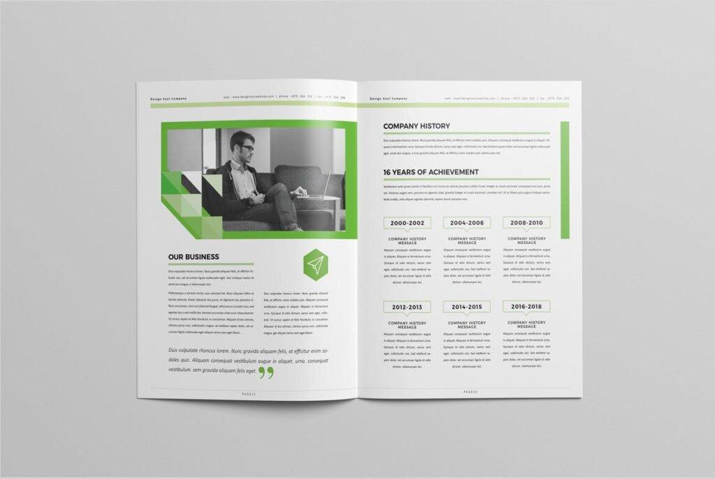 绿色环保简约杂志手册模板素材下载UXZT87插图(6)