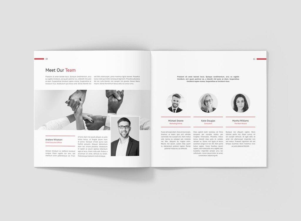 企业商务宣传手册模版素材下载Business Marketing Company Profile Square插图(6)