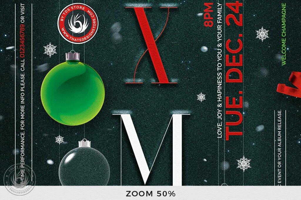 精致文艺平安夜/圣诞节传单海报模板Christmas Eve Flyer Template V13插图(6)