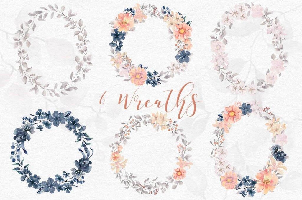 婚礼装饰图案花纹背景图案下载Coral Garden Watercolor Clip Art Collection插图(6)