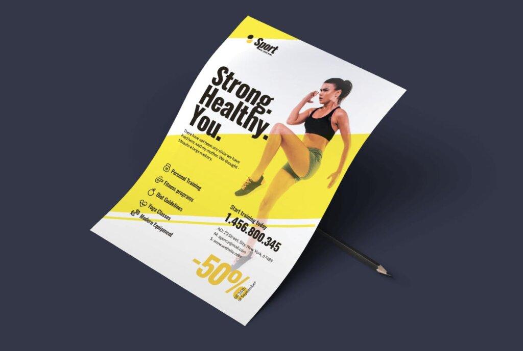 高端现代简约运动瑜伽海报传单模版素材97R6D5插图(6)
