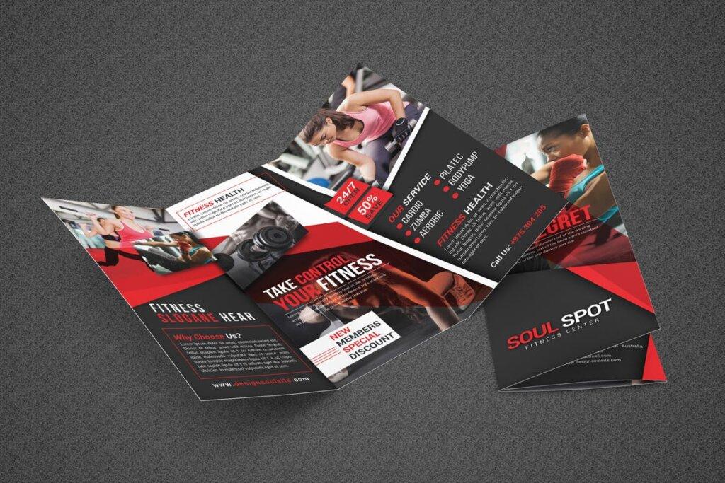 健康与健身手册折页模版素材下载Fitness Tri Fold Brochure插图(6)