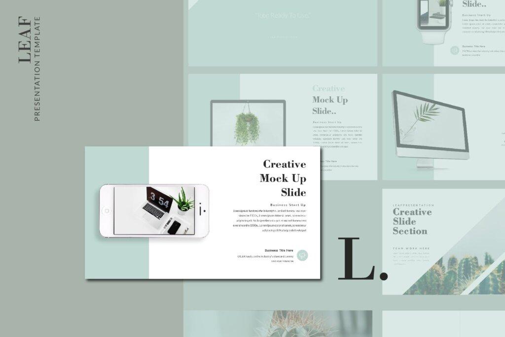 绿色生活概念主题幻灯片PPT模版素材下载LEAF Powerpoint Template插图(6)