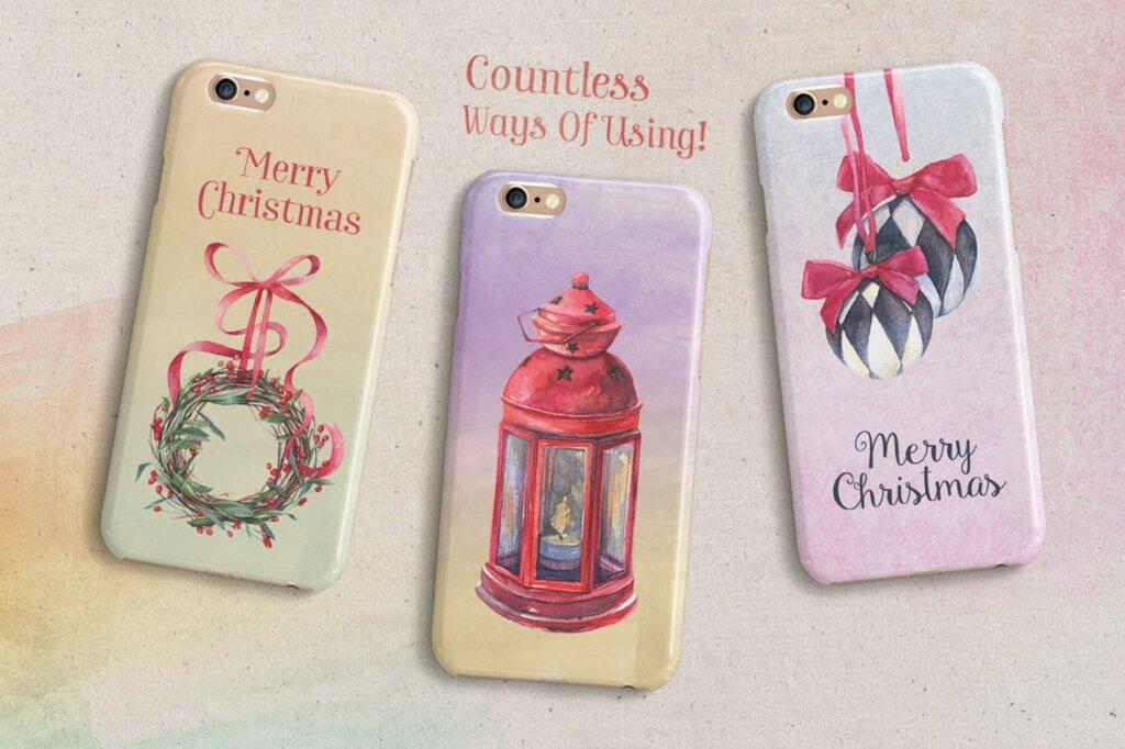 甘草圣诞水彩画装饰图案纹理/圣诞节周边产品素材Licorice Christmas Watercolor Kit插图(6)