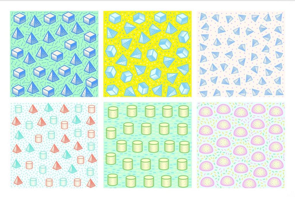 现代和几何图案的简单设计和形状装饰图案纹理素材Pop 3D Geo Patterns插图(6)