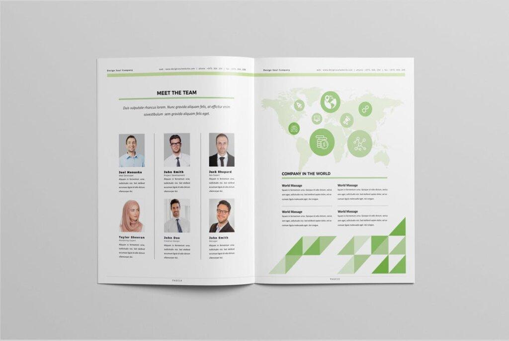绿色环保简约杂志手册模板素材下载UXZT87插图(7)