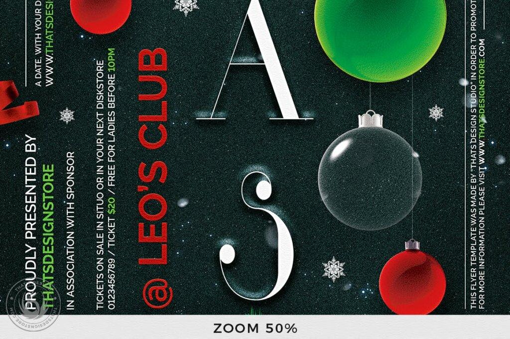 精致文艺平安夜/圣诞节传单海报模板Christmas Eve Flyer Template V13插图(7)
