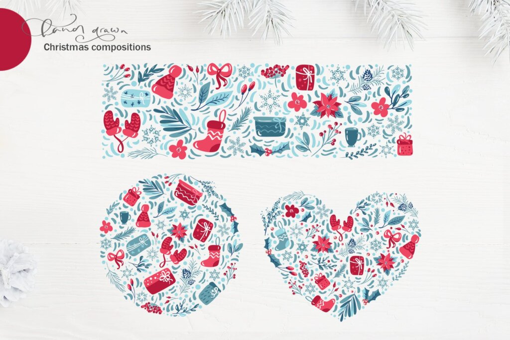 圣诞节花环装饰元素纹理素材/品牌装饰图案素材纹理Christmas floral holiday elements插图(6)