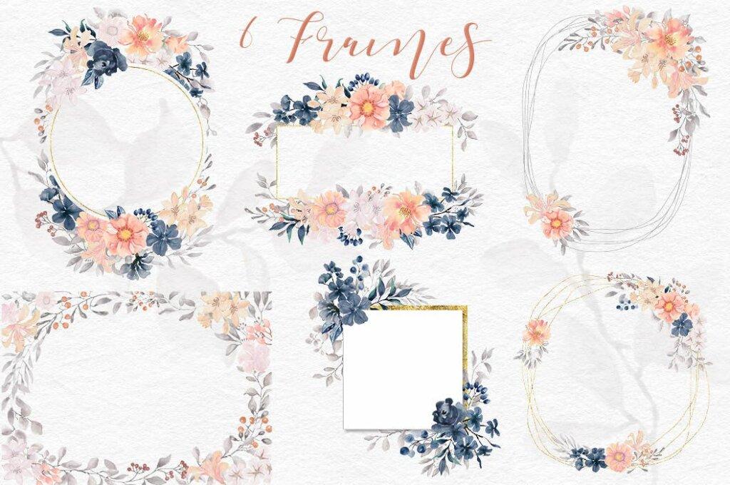 婚礼装饰图案花纹背景图案下载Coral Garden Watercolor Clip Art Collection插图(7)