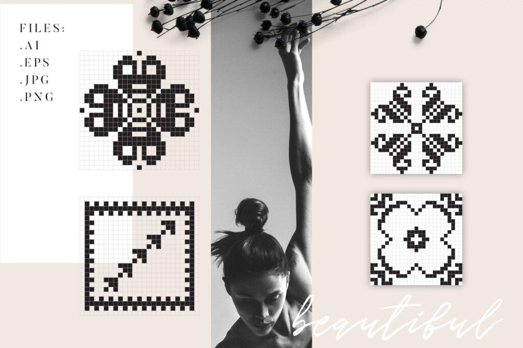 20个刺绣风格矢量图案素材纹理素材Embroidery Style Vector Patterns插图(6)