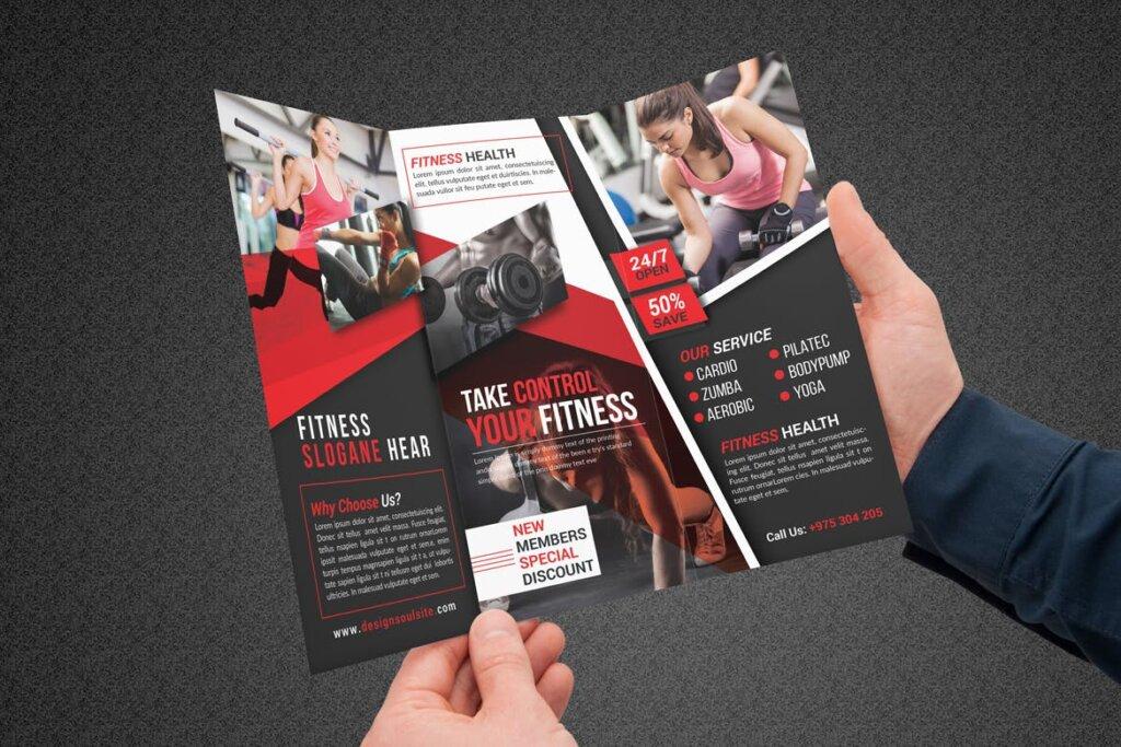 健康与健身手册折页模版素材下载Fitness Tri Fold Brochure插图(7)