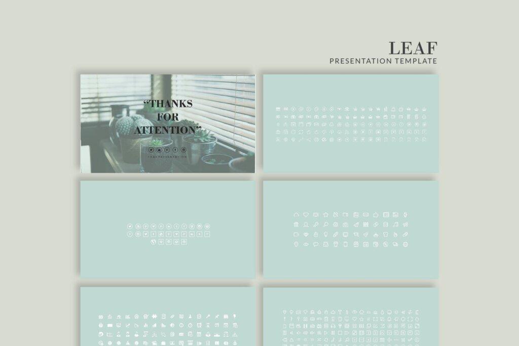 绿色生活概念主题幻灯片PPT模版素材下载LEAF Powerpoint Template插图(7)