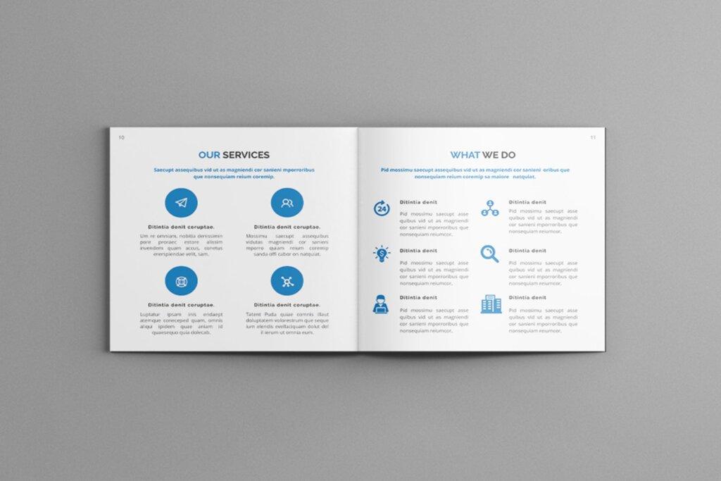 公司简介品牌宣传小册子模板素材Mavka Square Company Profile Brochure Template插图(5)