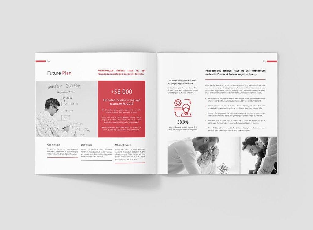 企业商务宣传手册模版素材下载Business Marketing Company Profile Square插图(8)