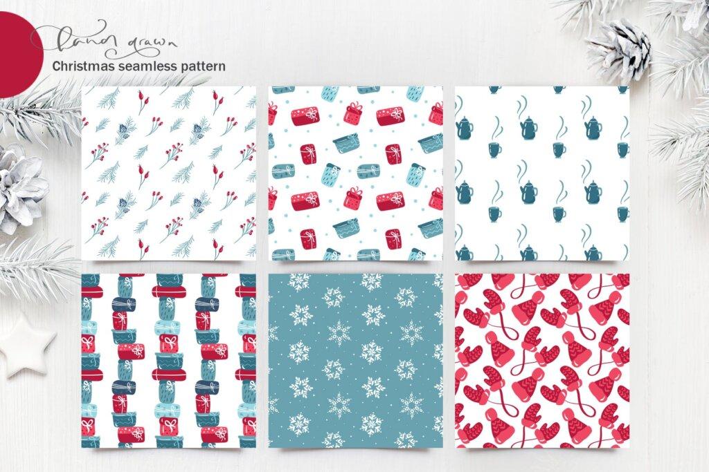 圣诞节花环装饰元素纹理素材/品牌装饰图案素材纹理Christmas floral holiday elements插图(7)