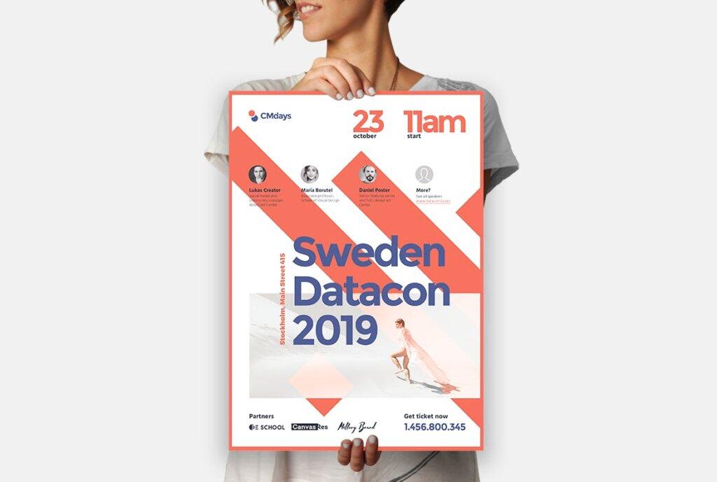 国际大型讲座会议海报传单模板素材下载Conference Poster 1插图(7)