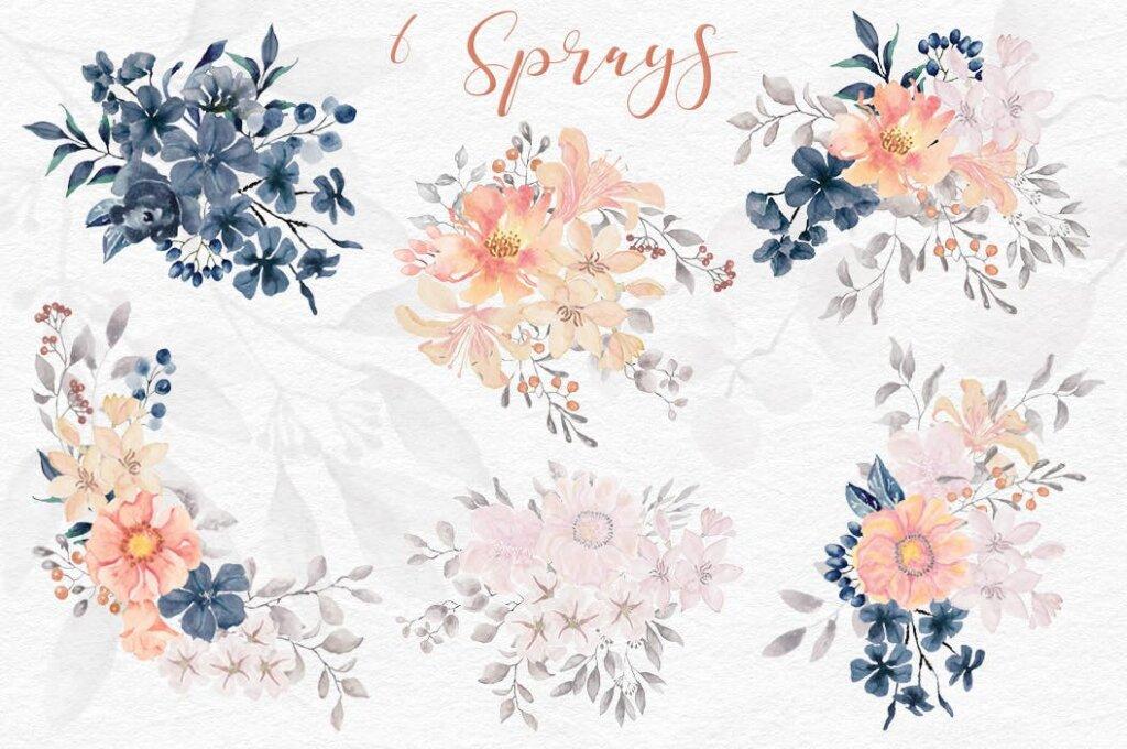 婚礼装饰图案花纹背景图案下载Coral Garden Watercolor Clip Art Collection插图(8)