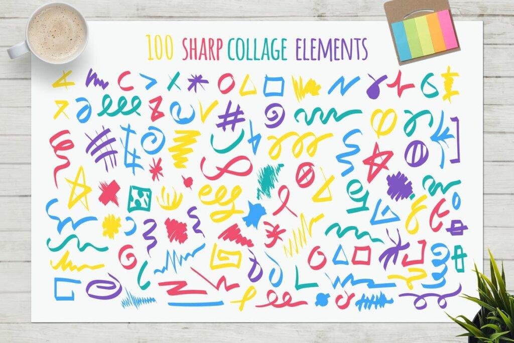马卡龙剪贴画/渐变图案纹理素材下载Funny Collage Kit插图(8)