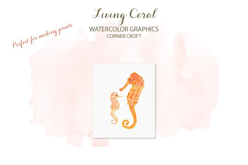 海洋动植物水彩剪纸活珊瑚装饰图案纹理素材Watercolor clipart living Coral插图(7)