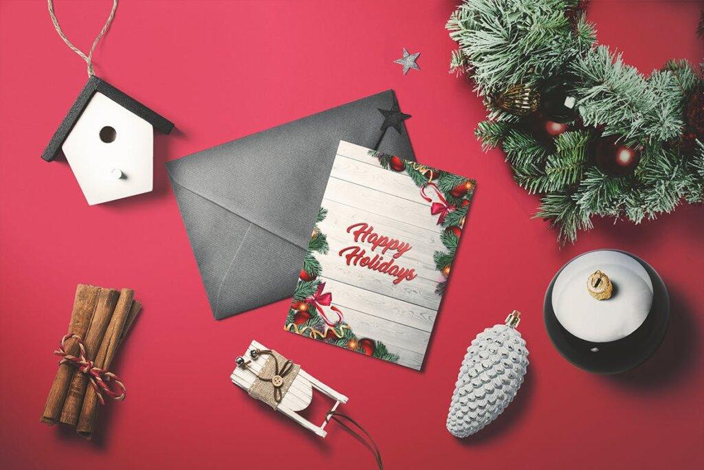 圣诞树原素圣诞贺卡传单海报模板素材下载Christmas – Greeting card V.2 AUQZYQ插图(2)