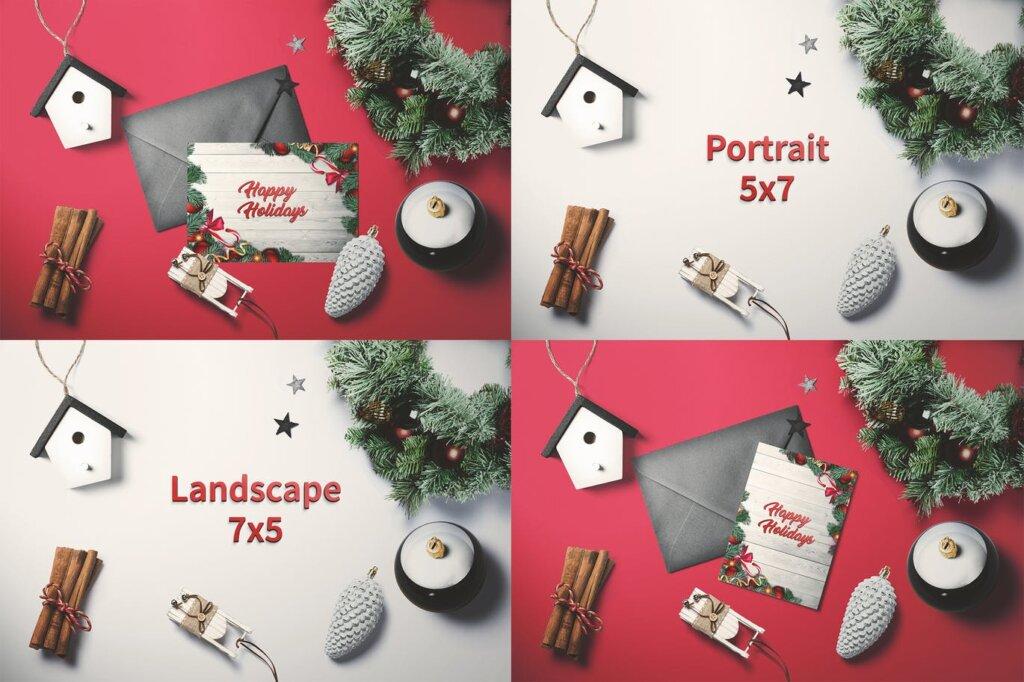 圣诞树原素圣诞贺卡传单海报模板素材下载Christmas – Greeting card V.2 AUQZYQ插图
