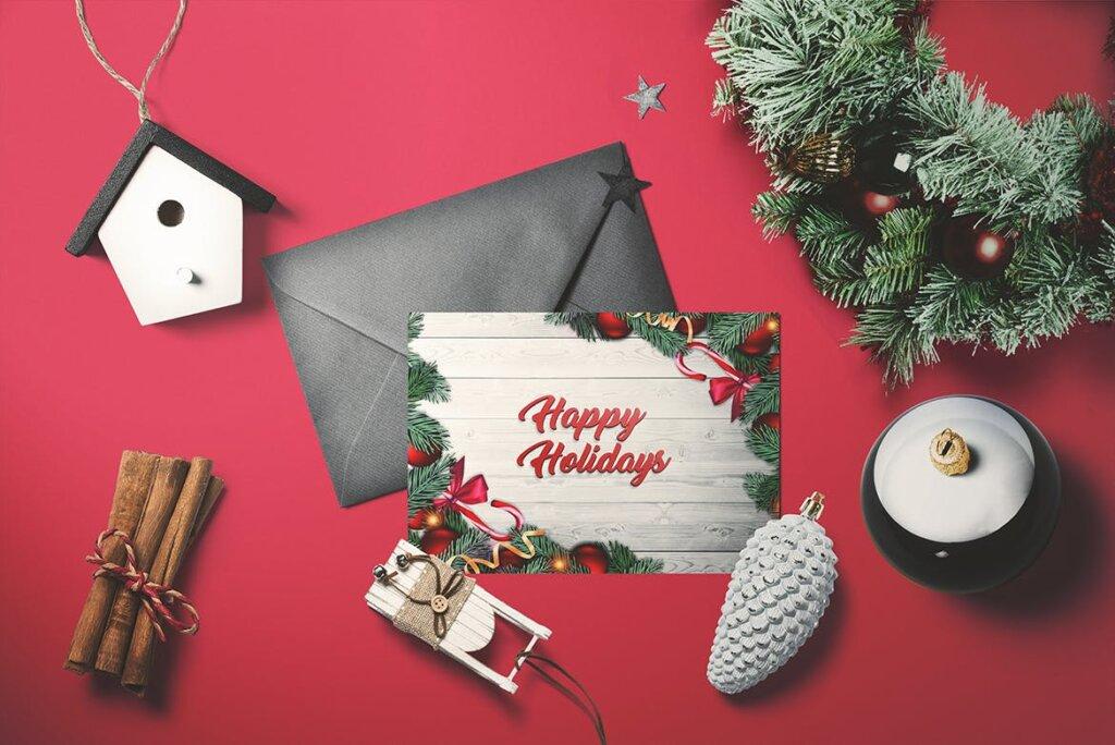 圣诞树原素圣诞贺卡传单海报模板素材下载Christmas – Greeting card V.2 AUQZYQ插图(1)