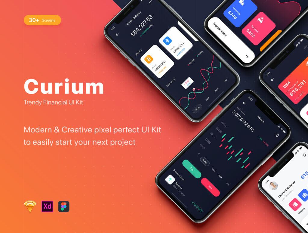 加密钱包货币数字/金融UI设计套件工具包Curium – Financial UI Kit插图(1)