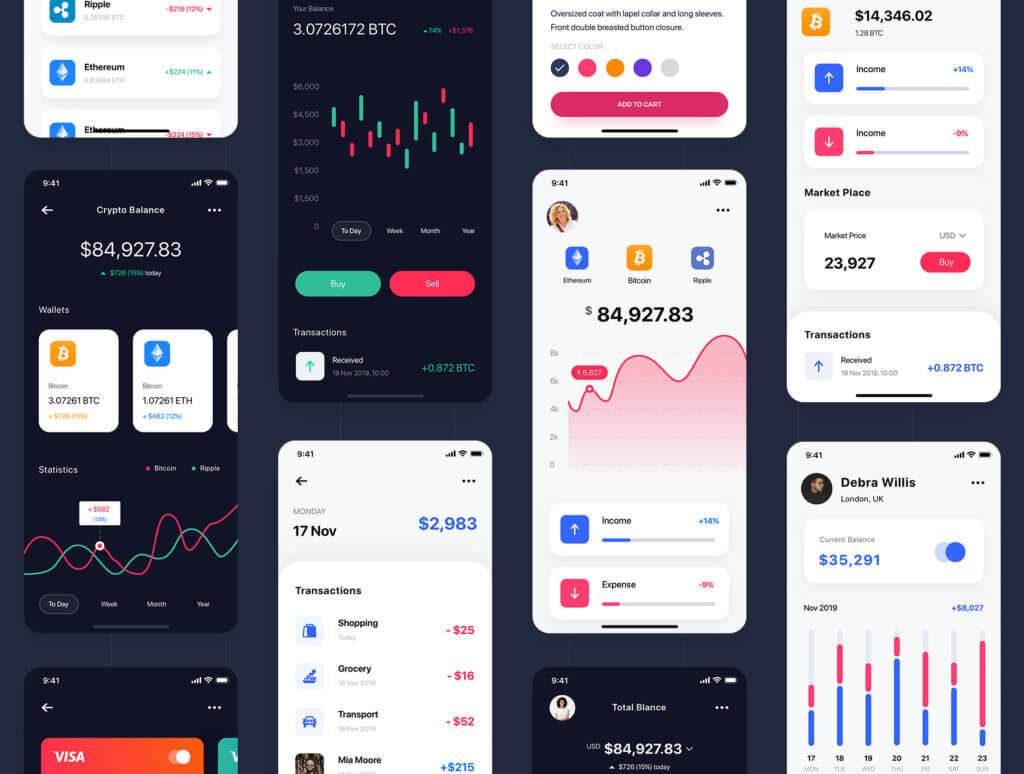 加密钱包货币数字/金融UI设计套件工具包Curium – Financial UI Kit插图(3)
