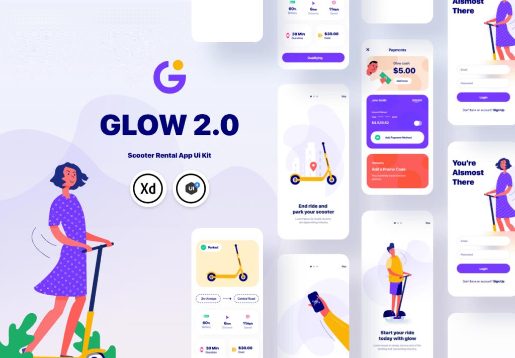 滑板车租赁主题概念UI界面设计套件素材模板素材Glow App Ui Kit插图