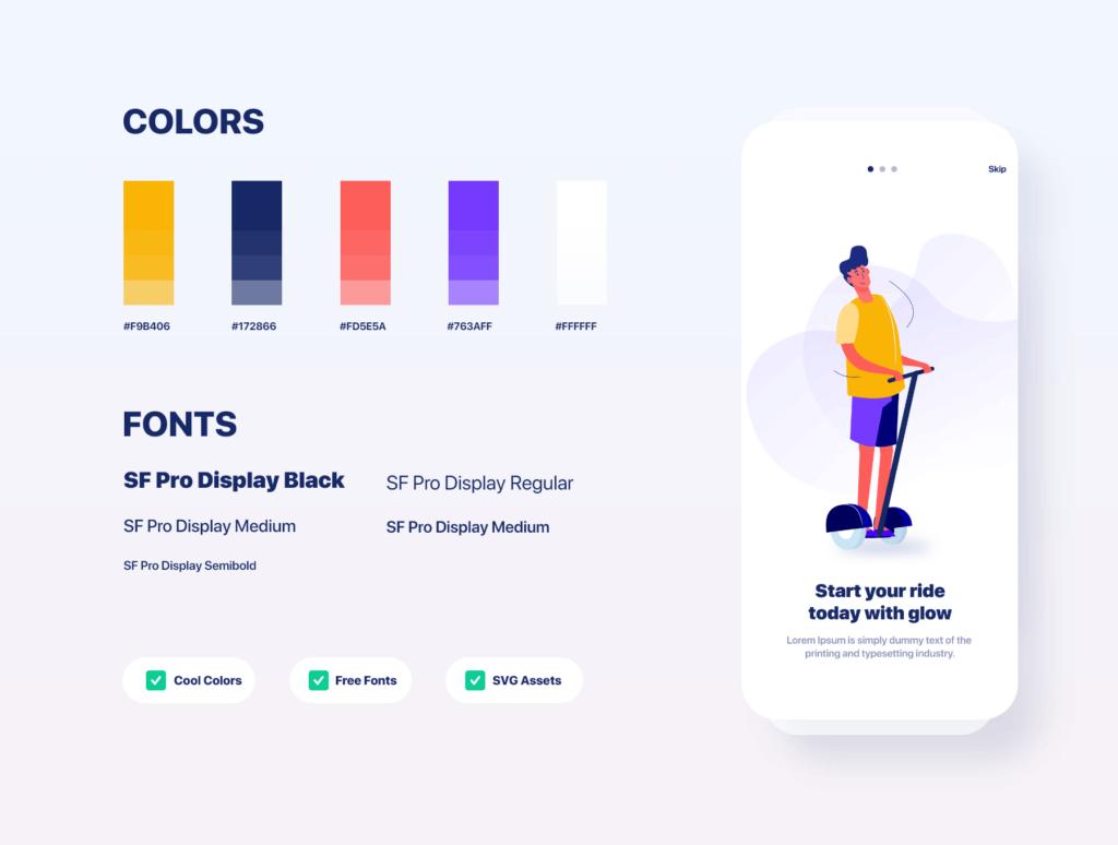 滑板车租赁主题概念UI界面设计套件素材模板素材Glow App Ui Kit插图(1)
